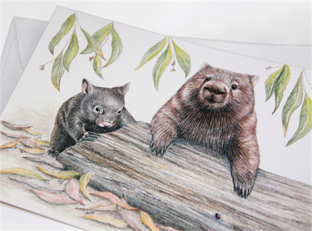 Wombats greeting card, Australian Common Bare-nosed Wombat Mother and baby