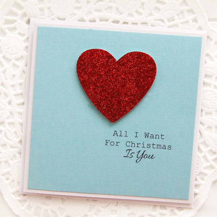 Love Christmas card All I want for Christmas is you card heart Wife ...