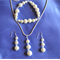 SS - Pearls - Swarvoski Crystals - Handmade -  Brides Jewelry Set - 3 piece set