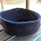 Crocheted bowl made from brown and navy blue cotton yarns