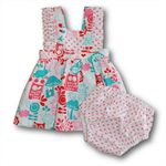 SIZE 00 Baby Girls Cotton Boo Pinafore SET - Forest Friends