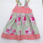 Girl's Pinafore Party Dress - Green Roses Floral - Girl, Toddler, Summer
