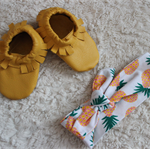 3- 6 month leather shoes and headband set. sunny pineapples