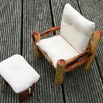 Dollhouse Armchair with Footstool
