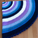 Round Crochet Rug Blanket Throw Baby Wrap Blue White Purple & Mauve