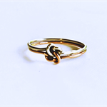 Rose Gold and silver, double love knot ring