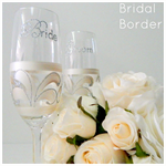 Bride and Groom Toasting Flutes & Gift Boxes