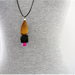 TEARDROP- Wood Drop + Black Hexagon + Hot Pink Bead on Black Leather