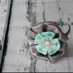 Satin flower woven headband