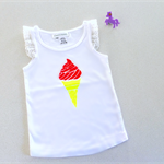 Sz 4~Hot Summer Day Singlet|Hand Printed|Icecream