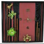 Modern Wall Clock, Buddha Wall Art With Wooden Bambo, Artificial Butterfly