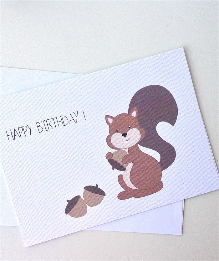 Happy Birthday Card Squirrel With Nuts Birthday Greeting Card