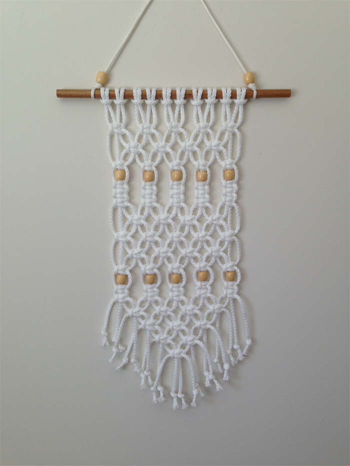Modern macrame wall hanging knotted rope wall art retro for Wall hanging