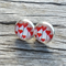 Glass dome stud earrings - red love heart design