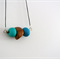 TRIO Necklace - Teal Green + Turquoise Polymer Clay  + Tan Wood on Black Leather
