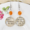 Mr Darcy and Elizabeth Earrings Vintage Text Orange Jane Austen Pride Prejudice