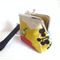 Wristlet Clutch purse.Cute bird linen fabric. Christmas Gift.Mustard, Red,Black