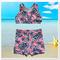 CLEARANCE... Pink Navy Hibiscus Girls Shorts Swimsuit Set