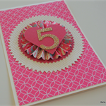 Pink & Ivory Happy 5th Birthday Rosette Card