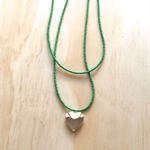 GREEN COLOUR BASICS SILVER HEART LOCKET DOUBLE STRAND LONG NECKLACE