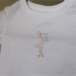 T-shirt white, size 0, stork with blue bundle in Swarovski crystals.