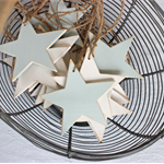 Set of 3 Wooden Stars Natural Decoration in Misty Blue or Warm White Distressed