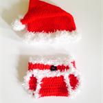 Crochet Santa Hat and Nappy Cover