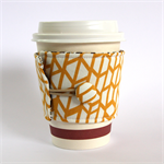 Coffee Cup Cuff/ Cosy/ Sleeve - Gold Geo Trapeziums & Brown Flowers