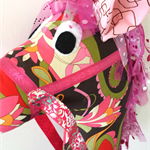 HOBBY HORSE - Sarah - a mix of pinks, browns and green with a tulle mane