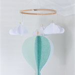 Large Teal Hot Air Balloon Mobile - READY TO POST