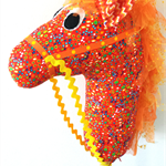 HOBBY HORSE - Sizzle - a rainbow of spots and dots on bright orange