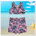 Pink Navy Hibiscus Girls Shorts Swimsuit Set
