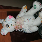 unique embroidered bear 42 cms tall