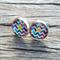 Glass dome stud earrings - colourful chevron