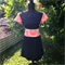 SAMPLE Large Black Ponti and Red/cream Botanical print Miracle Dress