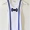 Boys Singlet with Blue Stripy Suspenders and Star Print Bow Tie Applique