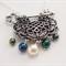 Symbolic Key & Celtic Knot pendant, emerald and pearl