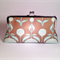 Brown flowers large clutch purse