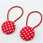 Button Hair Ties - red polka dots