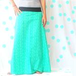 Ladies Green Geo Maxi Skirt - Size 12-14