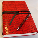 Large Red Croc Style Leather Journal with Hand Torn Artist Paper.