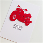 Red motorbike wheels cool happy birthday male dad brother father card