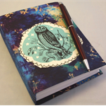Hand painted Owl Journal. Hand stitched with Internal Bookmarks