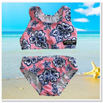 CLEARANCE... Pink Navy Hibiscus Girls bikini Swimsuit Set