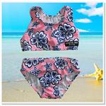 CLEARANCE... Pink Navy Hibiscus Girls bikini Swimsuit Set