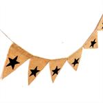 LAST ONE Black Christmas Stars rustic shabby Hessian Burlap Banner Bunting