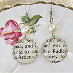 To Kill a Mockingbird Earrings Vintage Text Cream Atticus Finch Boo Radley
