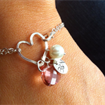 Personalized Pearl, initial disc and pink quartz bracelet - bridesmaids, sisters