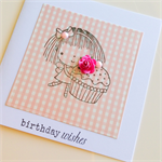 Birthday wishes pink gingham little girl with cupcake paper rose and pearls card
