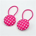 Button Hair Ties - hot pink polka dots